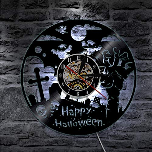 Guokee 1 Stück Happy Halloween Wanduhr Schallplatte Lp Uhr Halloween Party Zombie Hand Geist Schädel Wandkunst Dekor