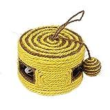 Juguete rascador para gatos Nobleza, de sisal con forma de caja en color amarillo, diámetro 16,5 cm