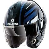 SHARK Casque Moto EVOLINE 3 CORVUS KWB, Noir/Bleu, Taille S