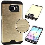 Smartphone Alu Hardcase Handy Hülle Samsung Galaxy S6 Edge Rückseite Cover gebürstet Metall Bumper Rückschale Schutz Zubehör ScorpioCover champagner gold