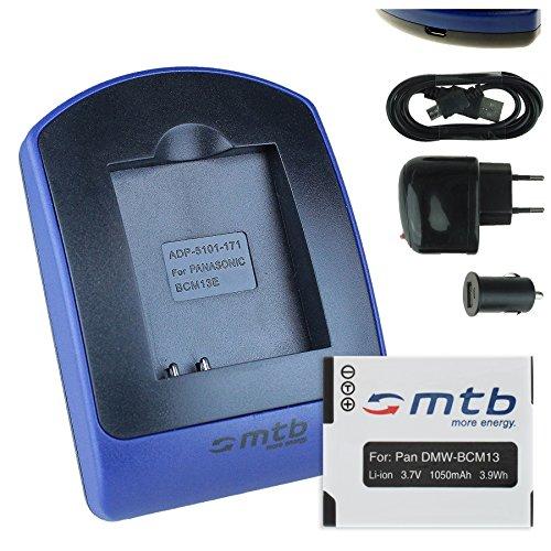 Akku + Ladegerät (Netz+Kfz+USB) für Panasonic DMW-BCM13 / Lumix DMC-FT5, TS5, TZ37, TZ40, TZ60, TZ70, TZ71, ZS30, ZS40.. - s. Liste