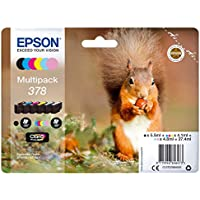 Epson 378 Squirrel Multipack Inkjet Cartridge, Black/Cyan/Magenta/Yellow/Light Cyan/Light Magenta, Pack of 6, Amazon Dash Replenishment Ready