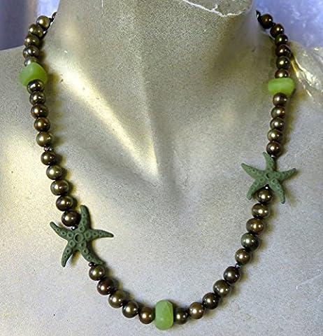 Perlen Collier Jade Lava Seestern