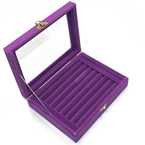 Ring Glas Samt Schmuck Display Aufbewahrungsbox Tablett Fall Halter Ohrring Organizer Ständer violett (Lady Schmuck-halter)