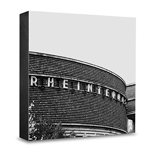 Foto-Holzblock medium - 15 x 15 cm - Wandbild mit Architektur-Fotografie Düsseldorf - Rheinterrasse