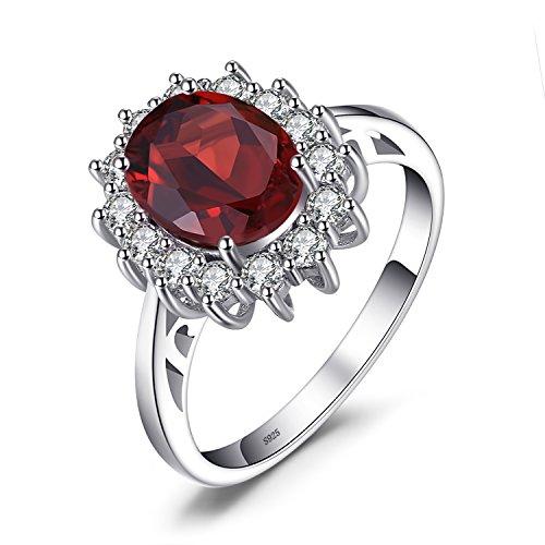 JewelryPalace Prinzessin Diana William Kate 2.5ct Natürliche Rote Granat Ring Verlobungsring damenring 925 Sterling Silber Größe 51 to ()