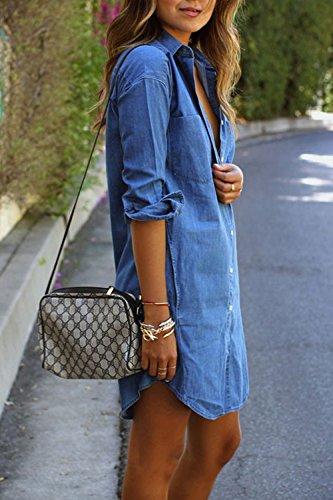 Le Donne In Autunno Una Manica Lunga Patta Dei Pantaloni Jeans Vestito. Blue