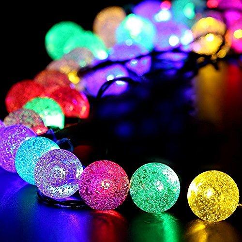 SunJas Guirlande lumineuse Solaire, Guirlande Lumineuse Boules Étanche Eclairage solaires pour Noël, Decoration Maison,Mariage Terrasse Pelouse 20 LED 4,8 mètres / 30 LEDs 6 mètres (20 LEDs Multicolore)