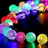 Sunjas Luces de La Secuencia solar Globe, Azul claro, Las Luces a Prueba de Agua, 4,8 Metros de 20 LED, Lámparas de Cristal de La Bola, Decorativos de Interior y Exterior, de Vacaciones, Jardín, Navidad, Halloween, Boda [Clase de eficiencia energética A +++]