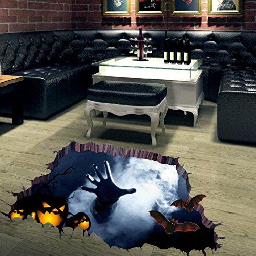 ber, SHOBDW 3D Happy Halloween Haushalt Raum Boden Wandaufkleber Mural Decor Decal Abnehmbare (Mehrfarbig) (Halloween Grenze Design)