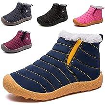 ca5bd6ec32f71 KVbaby Bottes de Neige pour Enfant Chaud Hiver Chaussures Fille Garçon  Fourrure Doublé Antidérapant Bottes d