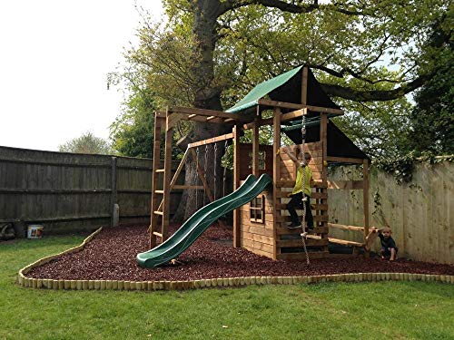Dunster House Wooden Garden Climbing Frame Playhouse Wave Swing Slide Set Monkey Bars Climbing Wall - ManorFort   Stronghold