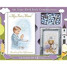 Boy - Set de Regalo para Primera comunión, diseño de Libro misal, Rosario y