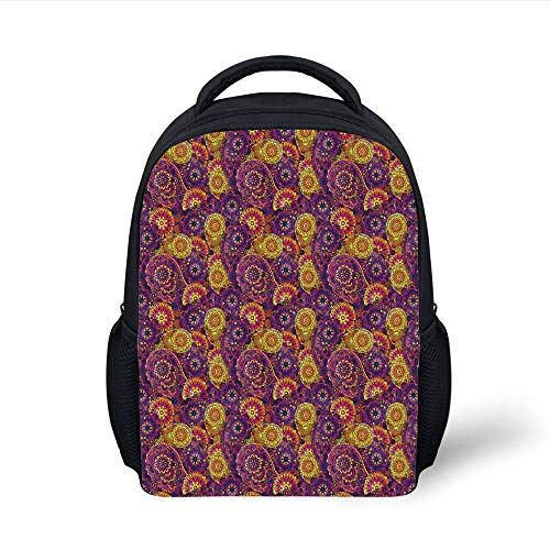 Kids School Backpack Vintage,Traditional Paisley Motifs Pattern Oriental Design Flower Ornaments Curvy Antique,Multicolor Plain Bookbag Travel Daypack -