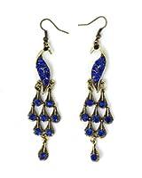 Pair Faux Blue Crystal Decor Peacock Bronze Tone Fish Hook Earrings for Women