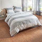 Traumschlaf Biber Bettwäsche Streifen grau 1 Bettbezug 135x200 cm + 1 Kissenbezug 80x80 cm