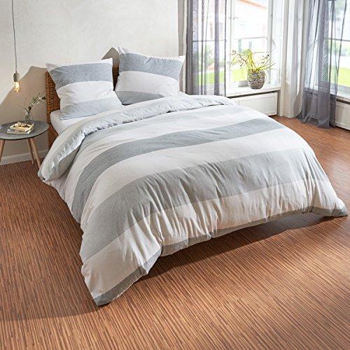 Traumschlaf Biber Bettwäsche Streifen grau 1 Bettbezug 200 x 200 cm + 2 Kissenbezüge 80 x 80 cm