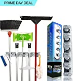 #5: Ozoy Broom and Mop Holder, Multipurpose Wall Mounted Hanging Organizer Stand for Bathroom Kitchen Garden Garage, 5 Positions with 6 Hooks Holds Up to 11 Tools (White)