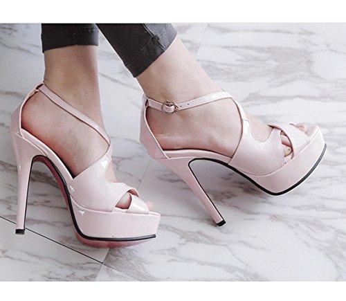WZG sandales Croix-strap été nouvelles chaussures talons fermeture étanche tête de poisson de taille taille 33-43 Pink