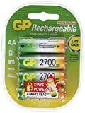 GP ReCyko + Paco 4 wiederaufladbare AA-Batterien der Serie 2600, NiMH, min. 2600mAh