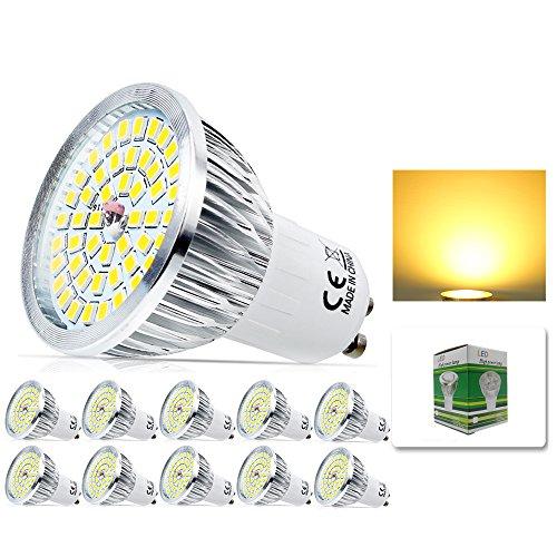 6 Tiffany Deckenleuchte (Mengjay® 10 Stück - 6 Watt GU10 LED Lampe 48 SMD 2835 LED Spots Strahler AC 220V Echter 60 Watt Lampe Leuchtmittel 520 lumen Abstrahlwinkel 120° Warmweiß)