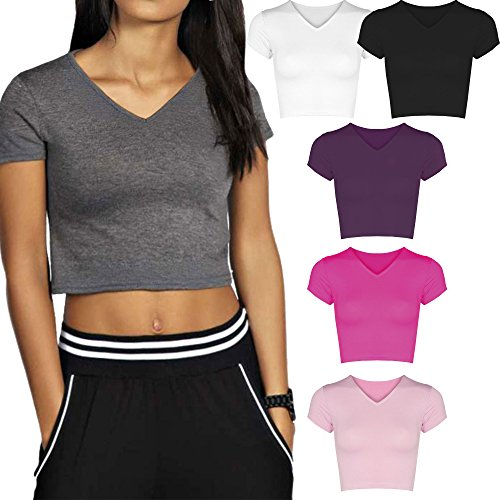 Re Tech UK Womens Ladies V-Neck Short Cap Sleeve Crop Top T-Shirt Vest Stretch Plain Fashion Summer