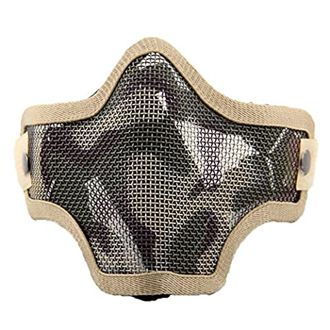 Sijueam Airsoft Metal Mesh Mask Half Face Guard Paintball Mask BB Protection Pinhole Mask for Outdoor Activities, Cycling, Halloween Costume-
