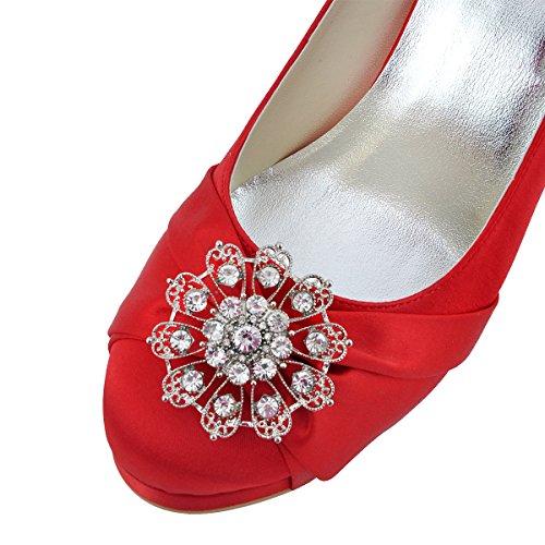 ElegantPark EP2015-PF Satin Plateforme Aiguille Talon Pumps Bout Ferme Fleurs Strass Diamant Boucles Chaussures Escarpins de Mariee Bal Rouge