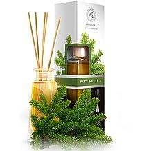 Diffusore di profumo per ambiente aghi di pino 100 ml, con 8 bastoncini di bambù, olio essenziale naturale, fragranze naturali intenso e duraturo, alcool 0%, profumo in camera per aromatizzare l'aria interiore per la camera, diffusori a lamella, diffusore a lamella di fragranza, la cucina, il bagno, la casa, l'ufficio, aromaterapia, ottimo per aromi naturali, rinfrescante, in vetro, da AROMATIKA