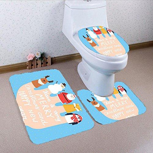 Fei fei set tappetino da bagno 3 pezzi blu lusso in microfibra flanella antiscivolo tappetino da bagno natale simpatici guanti 3 pezzi tappetino wc sedile (color : d)