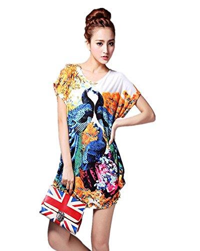 SaiDeng Femme Casual Imprimé Floral Manches Courtes En Vrac T-Shirt Blouses Image 2123