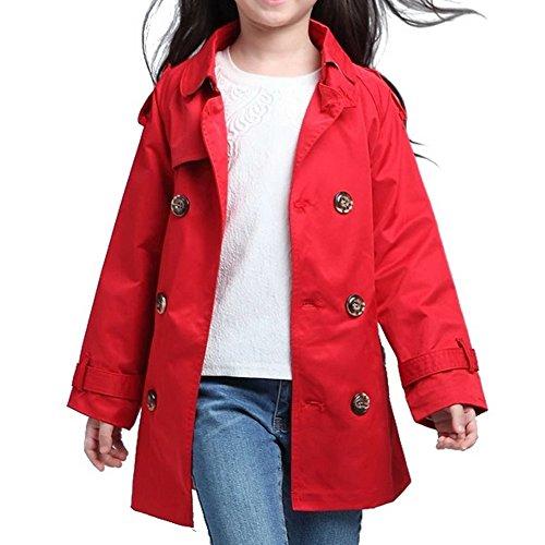 Odziezet Chaqueta Niña Larga Gabardina Impermeable Beige Elegante Abrigo Invierno Otoño 3-8 años