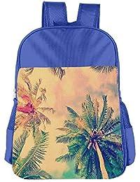 Retro Palm Tree Children School Backpack Carry Bag For Kids Boys Girls