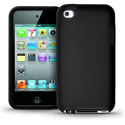 igadgitz Silikon Schutzhülle Hülle Tasche Etui Case Skin in Schwarz für iPod Touch 4G 4. Gen Generation 8gb 32gb & 64gb + Display Schutzfolie (Ipod Generation 4.)