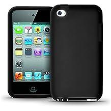 igadgitz Negro Case Silicona Funda Cover Carcasa para Apple iPod Touch 4ª Gen + Pantalla Protector