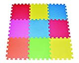 9-tile Multi-color Exercise Mat Solid Foam EVA Playmat Kids Safety Play Floor by Poco Divo Model: