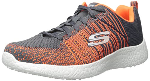 Skechers Burst In the Mix, Fitness Homme Charcoal/Orange