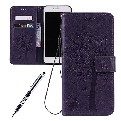 JAWSEU Coque Étui pour iPhone 7 en Cuir Portefeuille,iPhone 7 Etui Folio Pu,iPhone 7 Étui à Rabat Magnétique Housse Etui,2017 Neuf Bling Brillante Laser Désign Flip Pu Wallet Case Ultra Slim Leather F Violet*chat