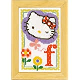 Vervaco - Kit para cuadro de punto de cruz, diseño de Hello Kitty con la letra F, multicolor