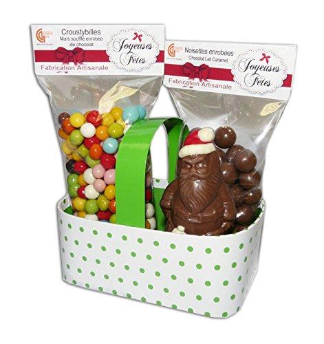 CHOCOLAT DE NOEL - COFFRET PANIER 3 SPECIALITES DE NOEL - CHOCOLAT ARTISANAL - CHOCOLAT DE NOEL - COFFRET CADEAU CHOCOLAT DE NOEL - COFFRET GOURMAND - BOITE DE CHOCOLAT - 390g