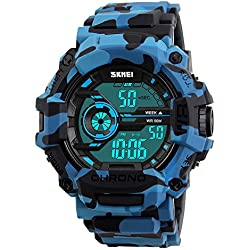 Bozlun Men's Digital Watch CamouflageBlue Sports Military Style Light Auto Date Alarm Backlight Stopwatch Waterproof