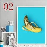 zgmtj Moderno Lienzo Fotos Arte Mano Dibujar Fruta Cartel de Plátano Y Fresa Comida Pintura Decoración Sala de Estar de Pared Estilo Nórdico Impresiones