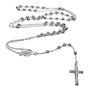 Chapelet et un crucifix de taille diamant en argent Sterling 925 avec chaîne de 60 cm