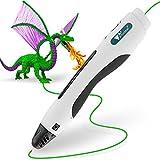 Amzdeal 3D druckstifte 3D weiß intelligenter Stift Zum Zeichnen und Graffiti, Kompatibel mit PLA- Filamenten, USB Kable, 3M Filamente