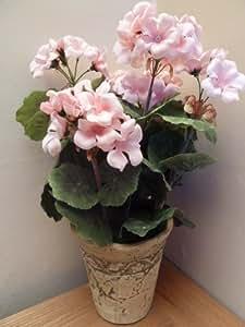 UK-Gardens Fleurs artificielles Geranium Rose - Plante en pot chic usé - pour Maison Bureau ou plante d'Intérieur