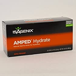 Isagenix AMPED Hydrate Natural Sports Drink Mix Juicy Orange 24 Sticks by Isagenix