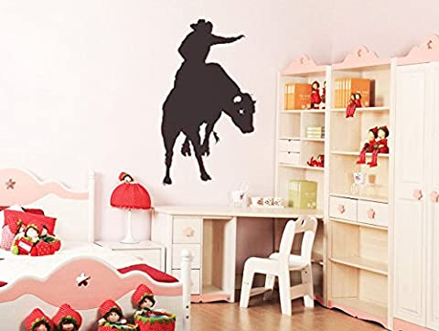 Hommay PVC Wall Stickers Bullfighter on horseback glass bedroom children's room European-style home decor bedside Wallpaper Mural Art Decals 99.1cm x 58.4cm