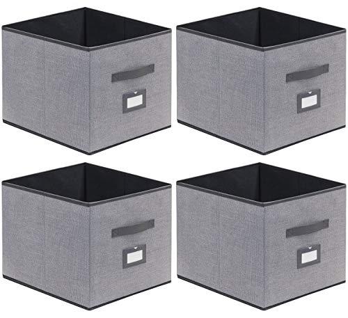 homyfort 4er Set Faltbare aufbewahrungsboxen stoffbox faltbox mit Ledergriffe und Etikettenhalter, 33 x 38 x 33 cm, Grau Leinen, XDBXL04PLP