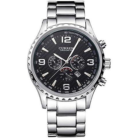 downj da uomo Sport Militare con calendario qualità argento lega banda orologio da polso al quarzo