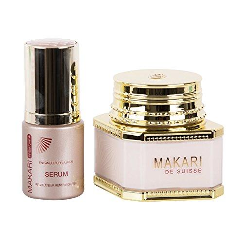Makari Classic Kit Duo Premium Plus - Crème Éclaircissante Jour/Nuit (3.38 fl. oz.) & Sérum Régulateur Sublimateur(1.0 fl. oz.) - Système estompeur anti-taches noires et cicatrices acnéiques